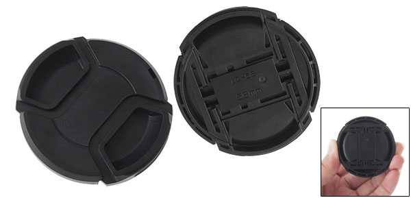 Black Camera Lens Cover 58mm Clip-On Cap Hood Cover
