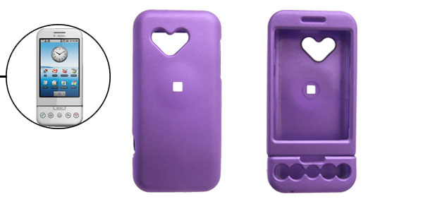 Purple Rubberized Heart Hard Plastic Case Cover for Google G1
