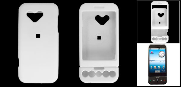 Rubberized Heart White Hard Plastic Case Cover for Google G1