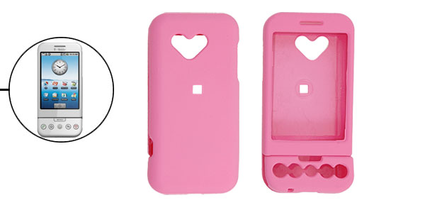 Ultra Pink Rubberized Heart Hard Plastic Case Cover for Google G1