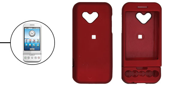 Rubberized Heart Hard Plastic Case Cover for Google G1 Dark Red