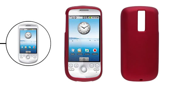 Rubberized Hard Plastic Guard Case for Google G2 Dark Red