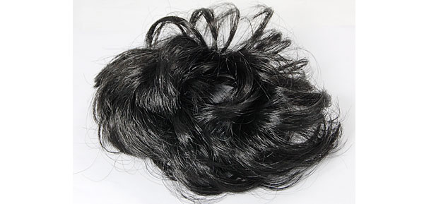Black Ready To Wear Chignon Bun Faux Hairpiece Wig for Ladies
