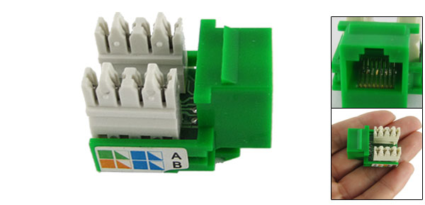 8 Pin CAT5e RJ45 Green Computer Socket Keystone Module