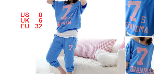 Dodger Blue Ribbed Sports Suit Blouse w Cropped Trousers for Lady XS
