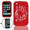 Red Silicone Case with White Cut Music Notes Pattern for iphone 3...