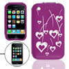 Fuchsia Silicone Case for iPhone 3G with White Cut Hearts Pattern