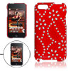 Glittery Floral Decor Red Coated Plastic Back Case for iPod Touch...
