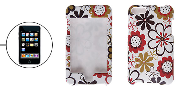Flower White Rubberized Plastic Case for iPod Touch 2