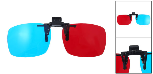 1 Pair Red Blue 3D Movie Games DVD Anaglyph Clip-on 3D-Glasses