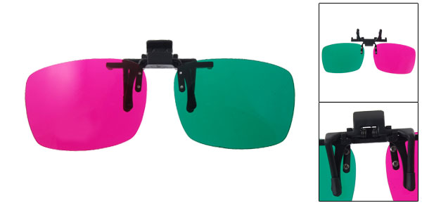 Magenta Green Movie Games DVD Anaglyph Clip-on 3D Glasses