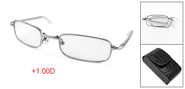+1.00D Magnifying Reading Glassses Folding Eyeglasses w Clip Case