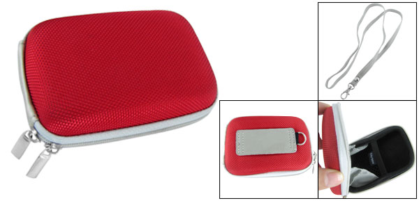 Red Digital Camera Sleeve Case Carrying Bag Pouch w Neck Strap