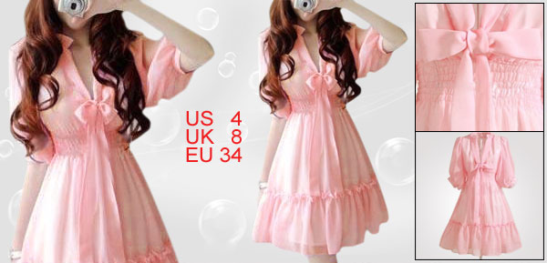 Ladies Pink Half Sleeve Cinched Waist Chiffon Dress S