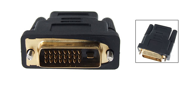 Black DVI-D Dual Link Male to HDMI Female Adaptor
