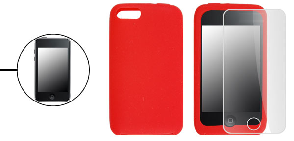 Red Soft Case for iPod iTouch 3G + Screen Protector
