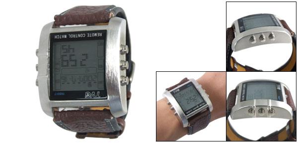 TV DVD Remote Control Brown Adjustable Band Digital Watch