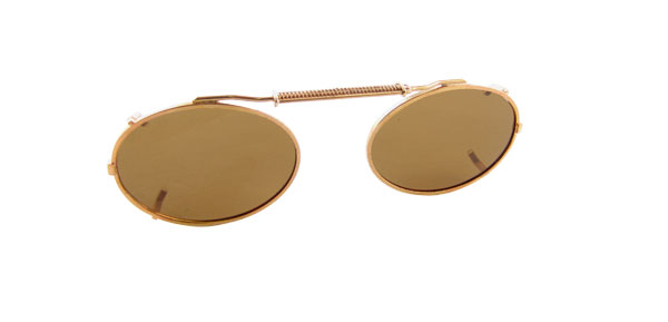 Oval Brown Lens Metal Frame Polarized Clip On Glasses