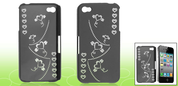 Black Carved Heart Print Hard Plastic Rubberized Cover for Apple iPhone 4