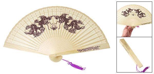 Purple Tassel Wooden 2 Dragon Fragrant Folding Fan