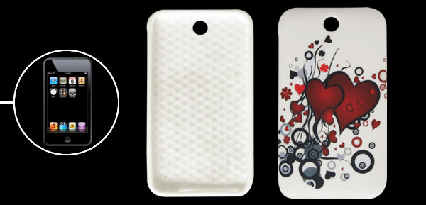 Heart Pattern Red White Soft Plastic Cover for iPod Touch 3