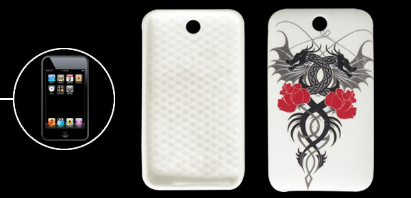 Dragon Flower Style White Plastic Cover for iPod Touch 3