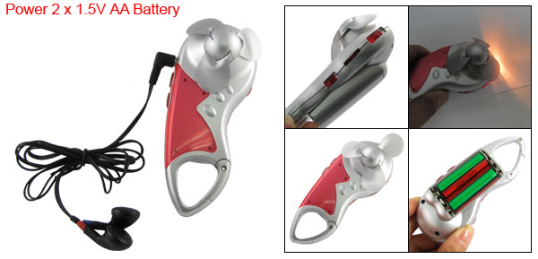 Carabiner Auto FM Scan Radio Earphone Cool Fan Mini LED Flashlight
