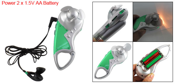 Portable Carabiner Auto FM Scan Radio Earphone Mini Fan Torch