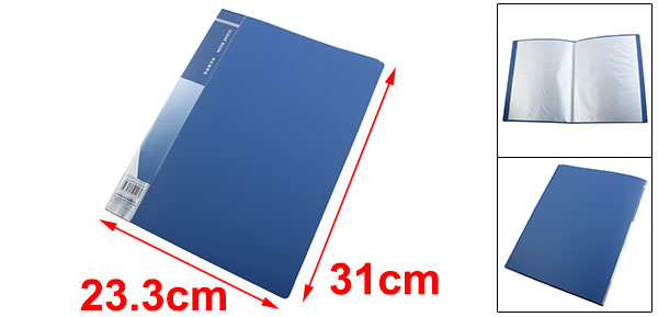 Blue Plastic Cover 20 Clear Pockets A4 Clear Book File