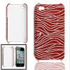 hard silver tone red zebra style nonslip...