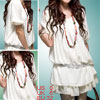 Ladies White Half Sleeve Chiffon Shirt Round Neck Top XS