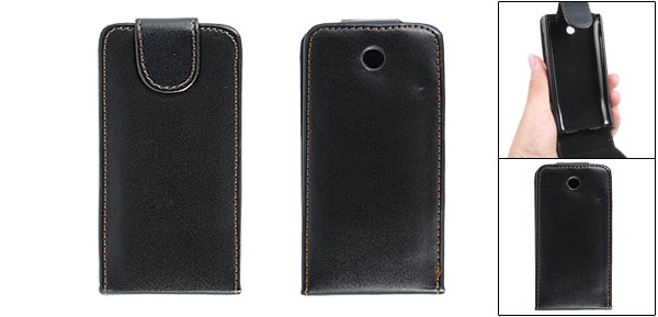 Black Faux Leather Magnetic Flap Vertical Case Pouch for Google G3