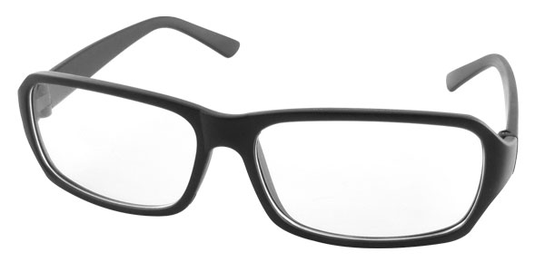 Unisex Blk Rectangle Frame Clear Flat Lens Eyeglasses