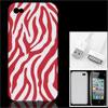red white zebra pattern case + data cabl...