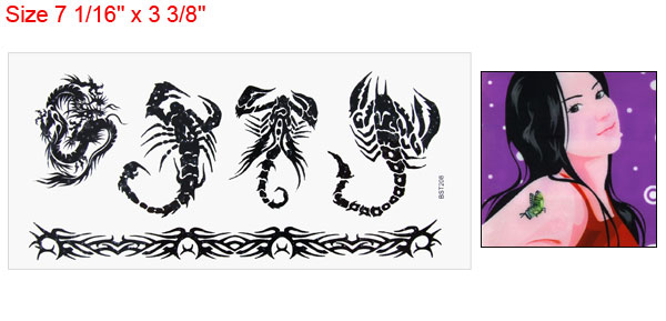 Scorpion Dragon Pattern Black Water Transfer Tattoos