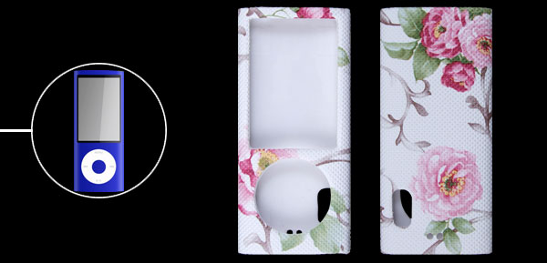 Floral Print Faux Leather Coated Plastic Case for iPod Nano 5 5G