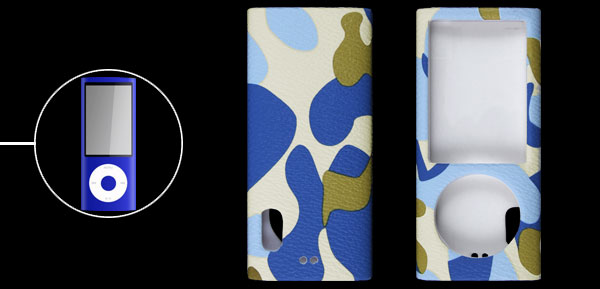 Blue Camouflage Pattern Faux Leather Coated Plastic Case for iPod Nano 5