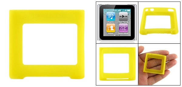 Yellow Silicone Skin Slim Case Cover for iPod Nano 6