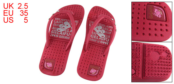US 5 Girls Heart Print  Red Plastic Flip Flops Shoes