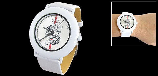 Ladies Adjustable Perforated White Faux Leather Band Wristwatch