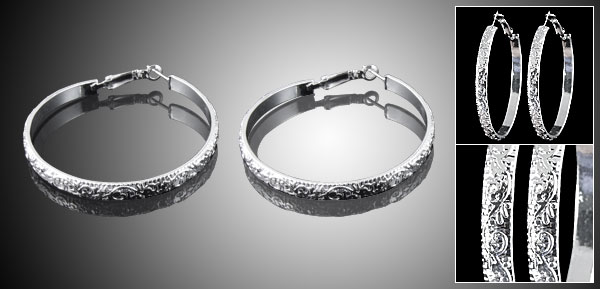 2 PCS Ladies Metal Textured Hoop Earrings Silver Tone
