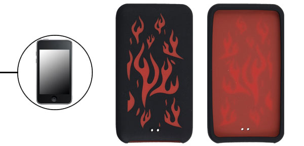 Red Fire Black Silicone Skin Case for iPod Touch 3