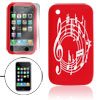 Red White Notation Pattern Silicone Skin Case w Screen Guard for ...