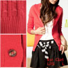 Red V Neck Long Sleeve Single Breasted Knitted Sweater Cardigan f...