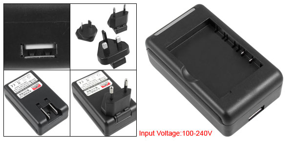 US Plug 100-240V Phone Battery USB Port Wall Charger Black for HTC Touch 3G