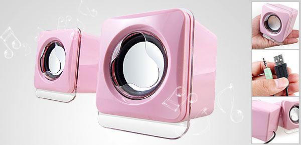 Compact Pair Pink USB Mp3 MP4 CD Player Audio Box Speaker
