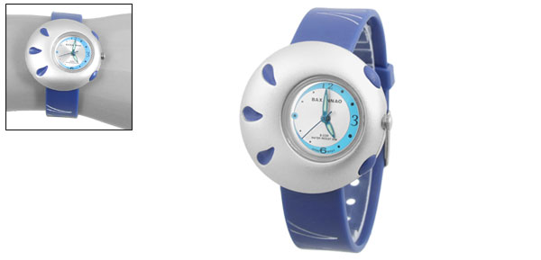 Lady Perforated Adjustable Soft Plastic Blue Band Wristwatch