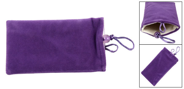 Purple Soft Plush Cell Phone Pouch Bag for Cellphone
