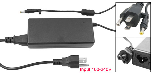 US 3 Pin Plug 4.8x1.7 100-240VAC Power Adapter for Hp NC4400 NC6000