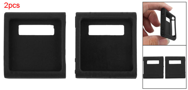 2pcs Black Silicone Skin Back Case for iPod Nano 6G